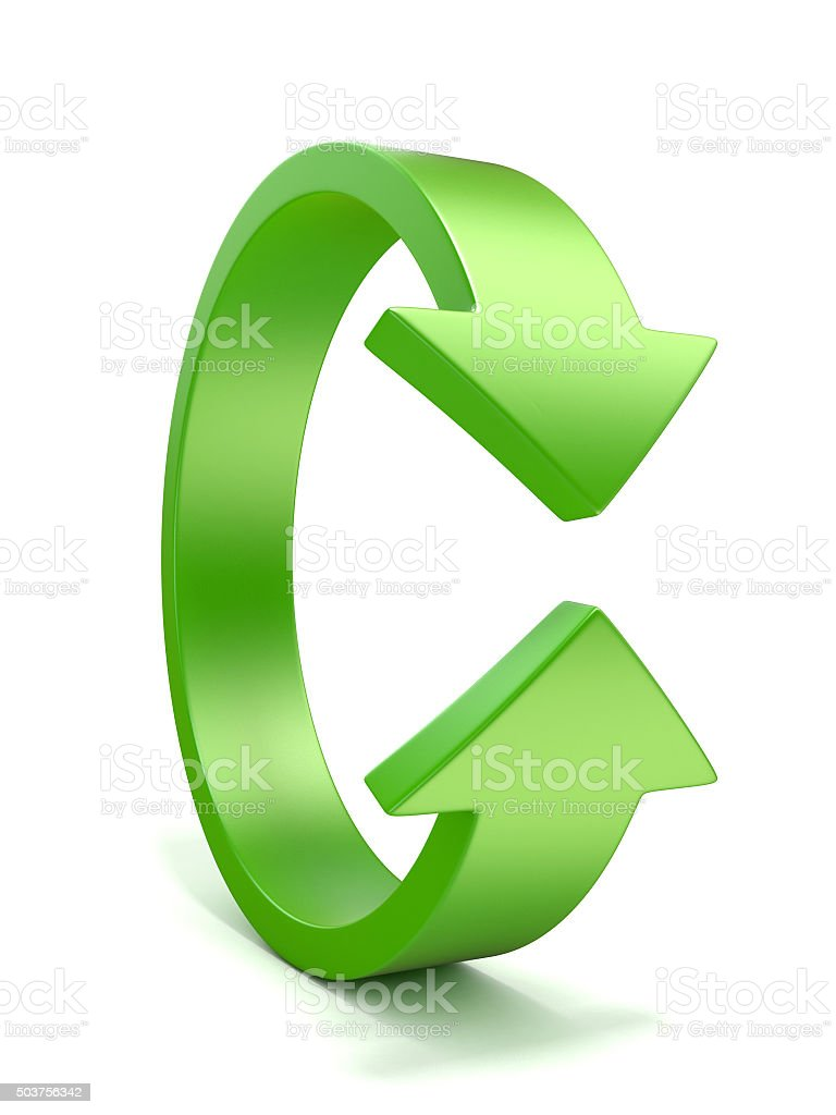 Green, vertical rotation, arrow sign. 3D stock photo