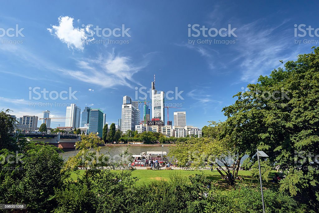 Green view on the Frankfurt modern city teil royalty-free stock photo