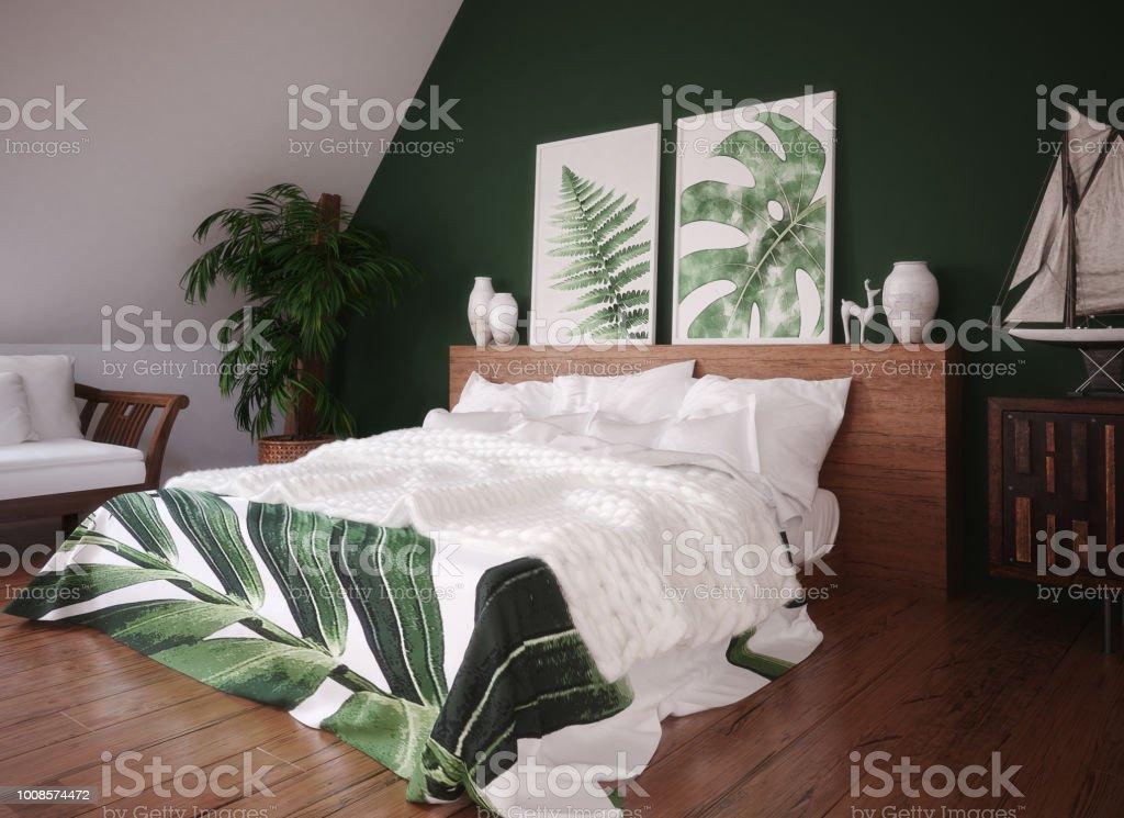 Grün Vintage Schlafzimmer Innenraum Stockfoto und mehr ...
