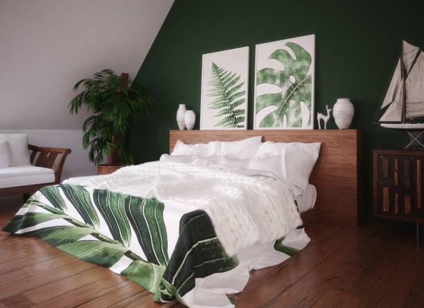 grün vintage schlafzimmer innenraum - tafel schlafzimmer stock-fotos und bilder