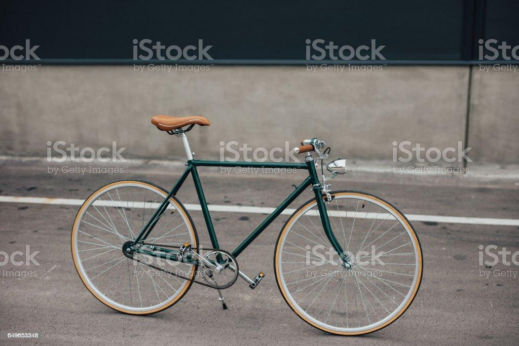 Green vintage bicycle stock photo