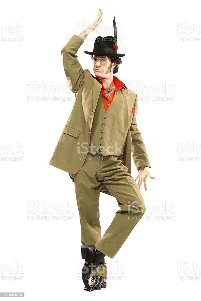green vintage dancer with hat  moves isolated on white royalty-free stock photo