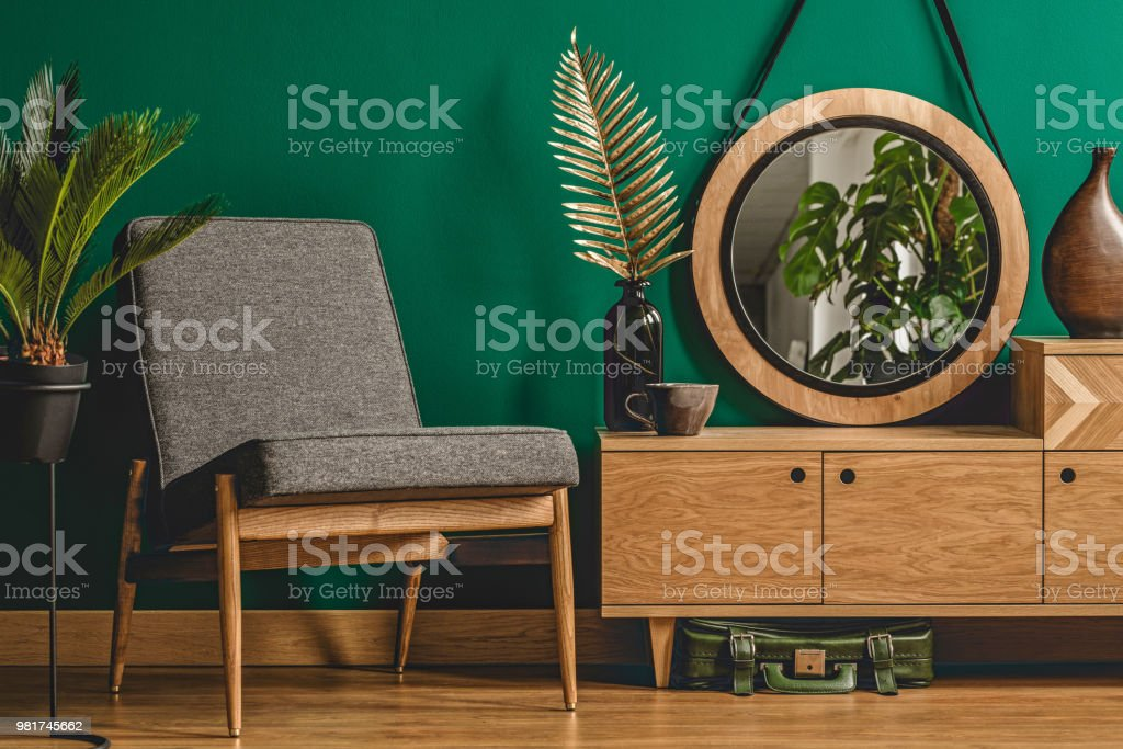 Green vintage room interior concept stock photo