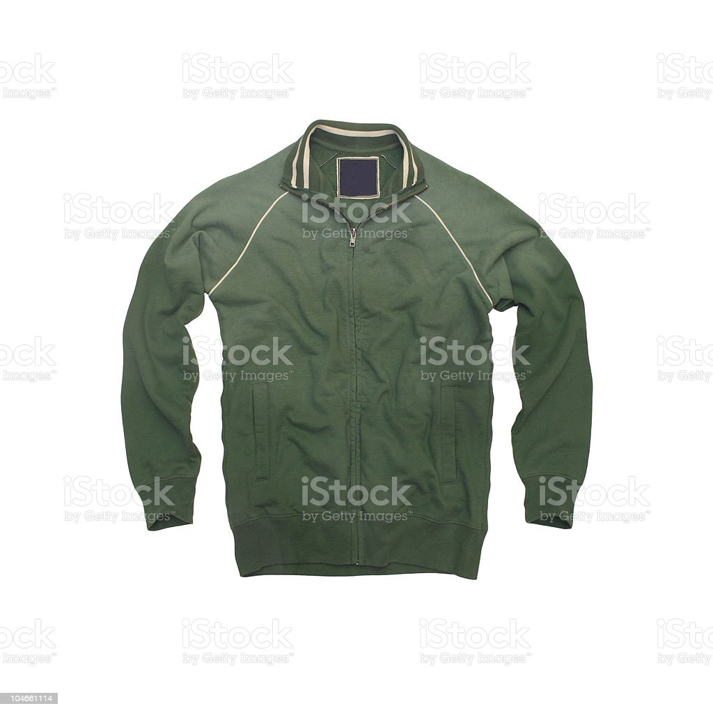Green, Vintage Track Jacket on a White Background royalty-free stock photo