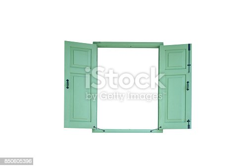 istock green vintage window isolated on white background 850605396