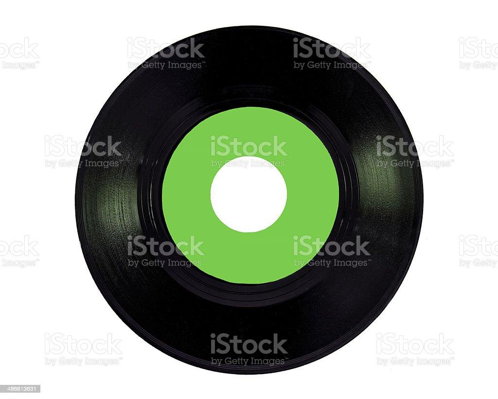 green vinyl 45 rpm stock photo