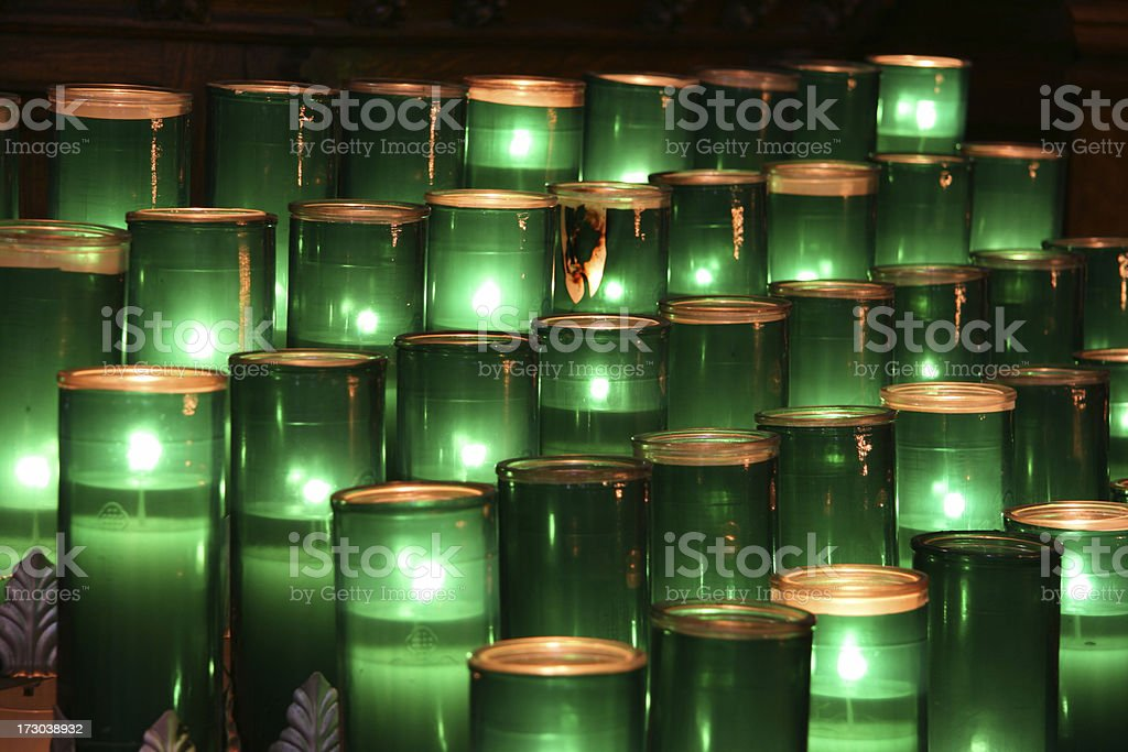 green votive candles royalty-free stock photo