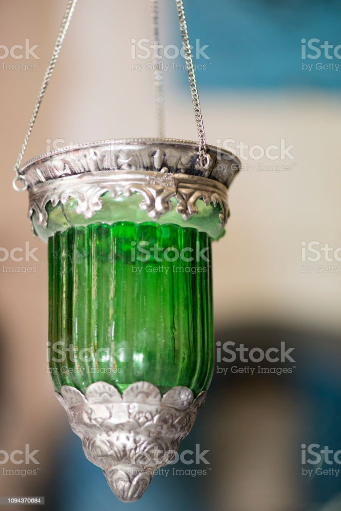 Green votive light stock photo