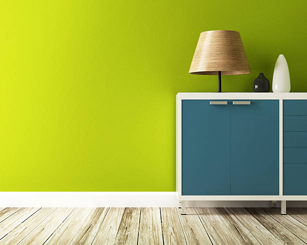 green wall and cabinet decorate stock photo