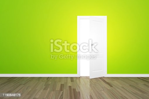 922736714 istock photo Green wall with opened door and light. opportunity 1190646175