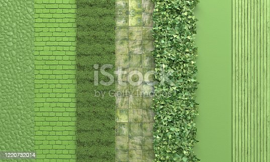 Green wall with set textures of stone, brick masonry, grass, tile, wooden board, vertical gardening.  Green background. 3D rendering