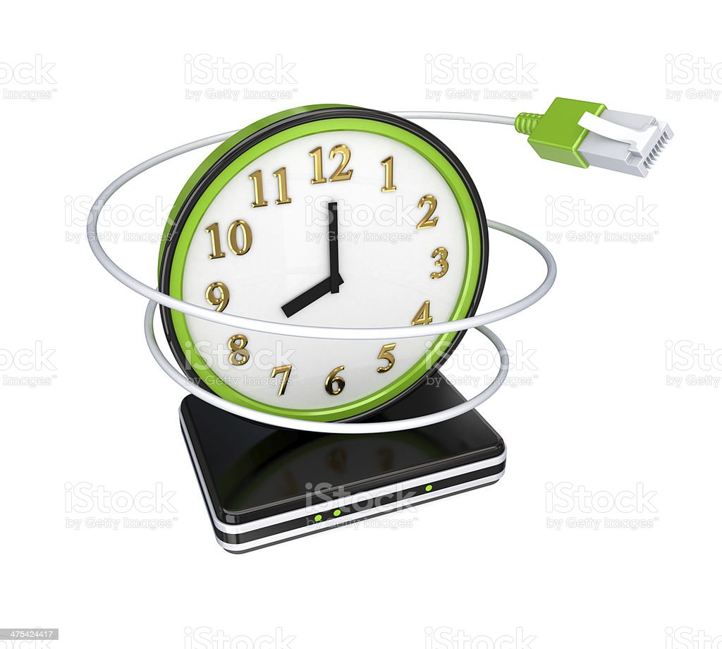 Green watch, patchcord and router. stock photo