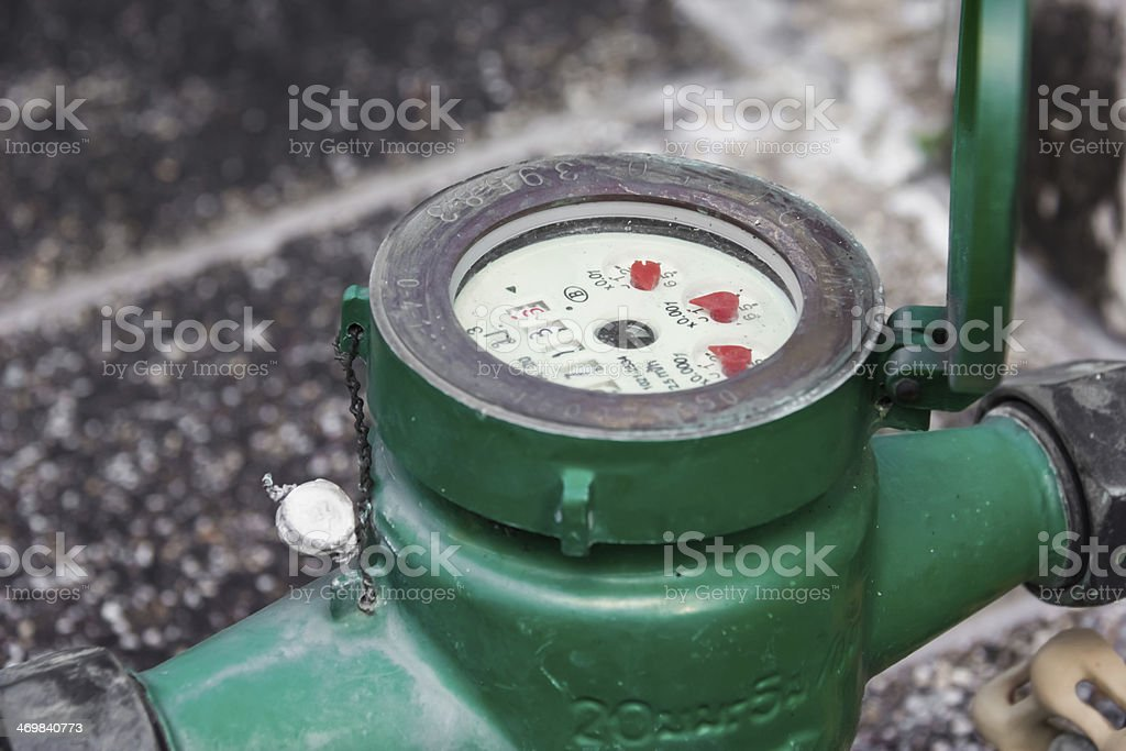 Green  Water meter close-up stock photo
