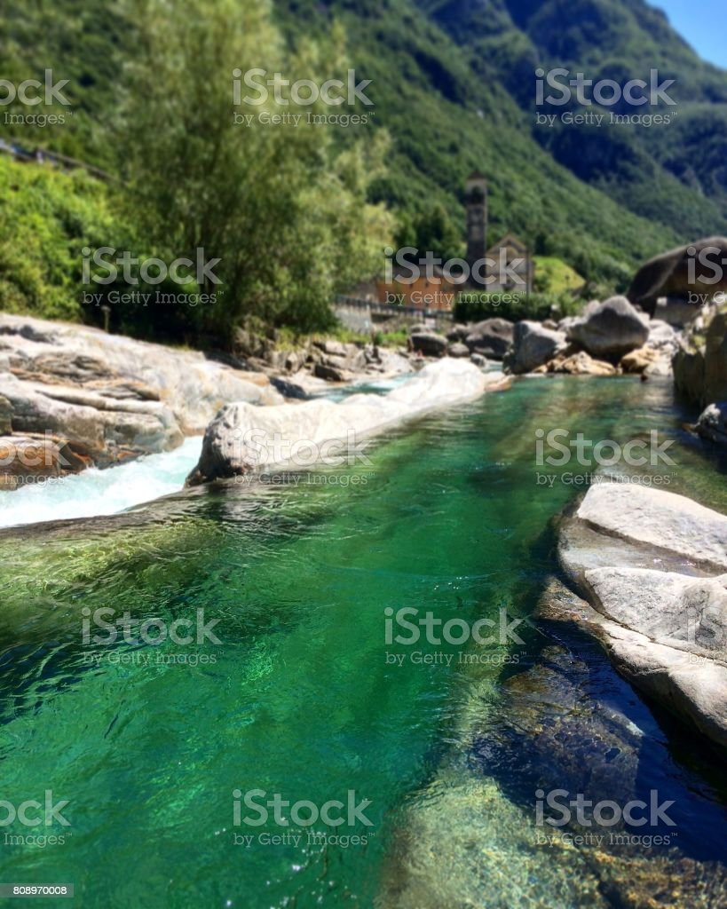 Green water of Lavertezzo stock photo