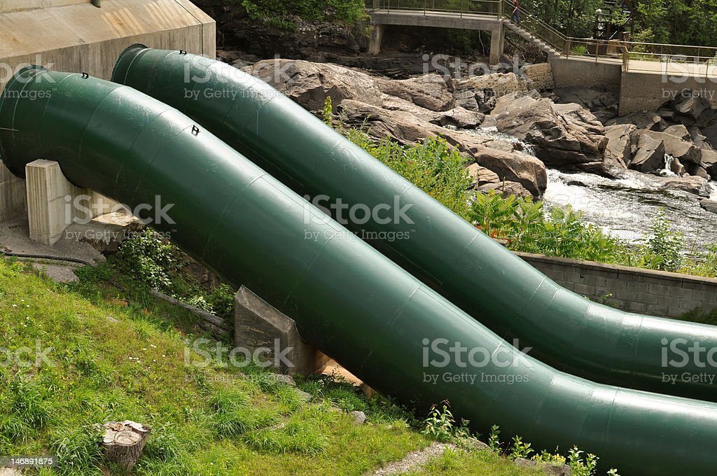 Green water pipes royalty-free stock photo
