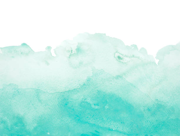 Green watercolor background - abstract ocean stock photo
