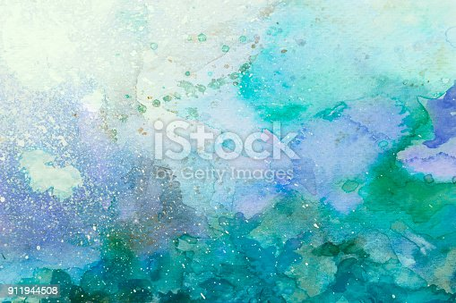 istock Green watercolor background 911944508