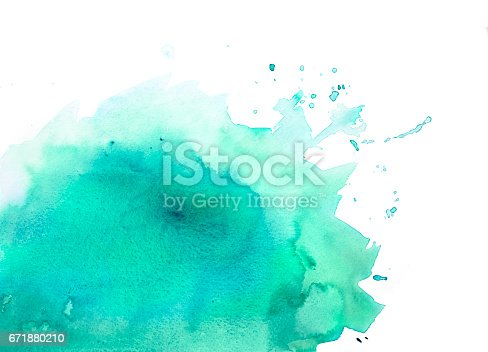 istock Green watercolor background with splashes 671880210