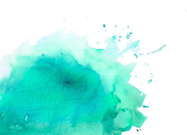 Green watercolor background with splashes stock photo