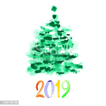istock Green watercolor Christmas tree - 2019 1058138766
