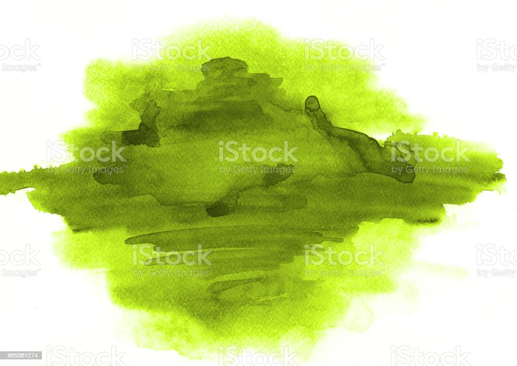 Green watercolor stain of a paint of the beautiful form on a white paper texture. Background for a logo, text, design, template, layout, banner and space for illustrations. zbiór zdjęć royalty-free