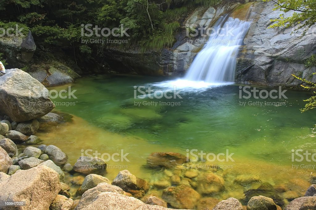 green waterfall royalty-free stock photo