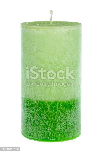 Green wax candle isolated.