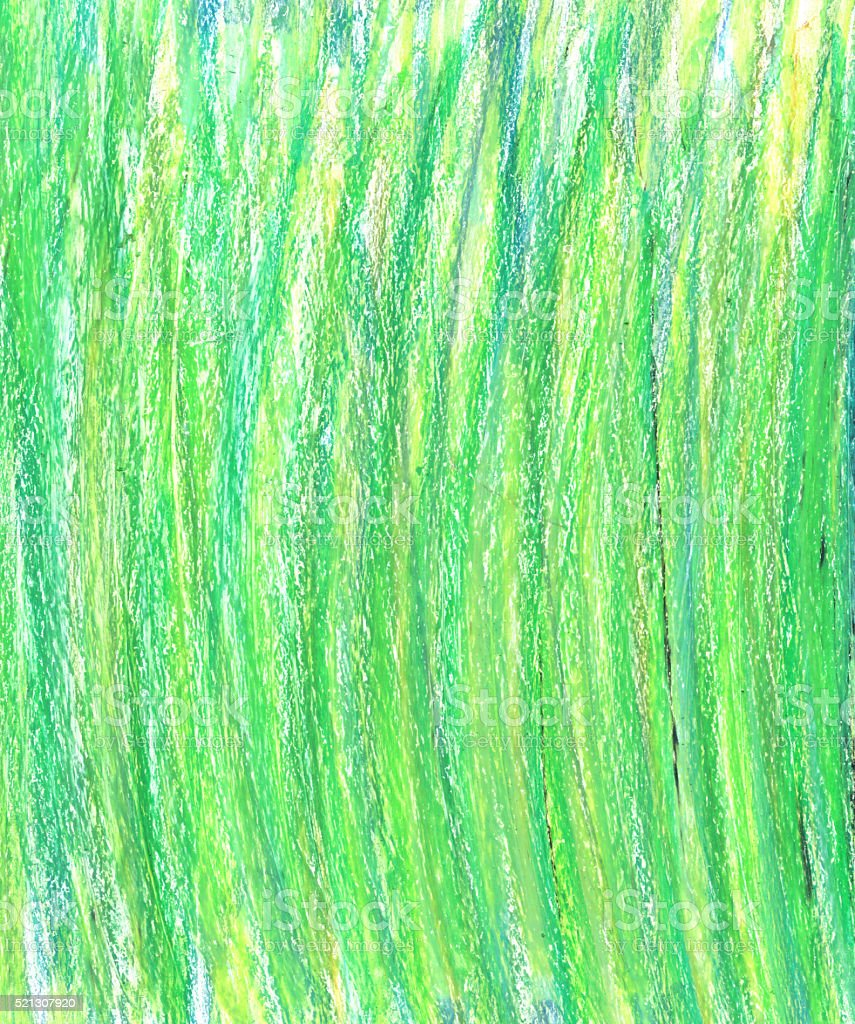 Green wax pastel crayon spot isolated on white background