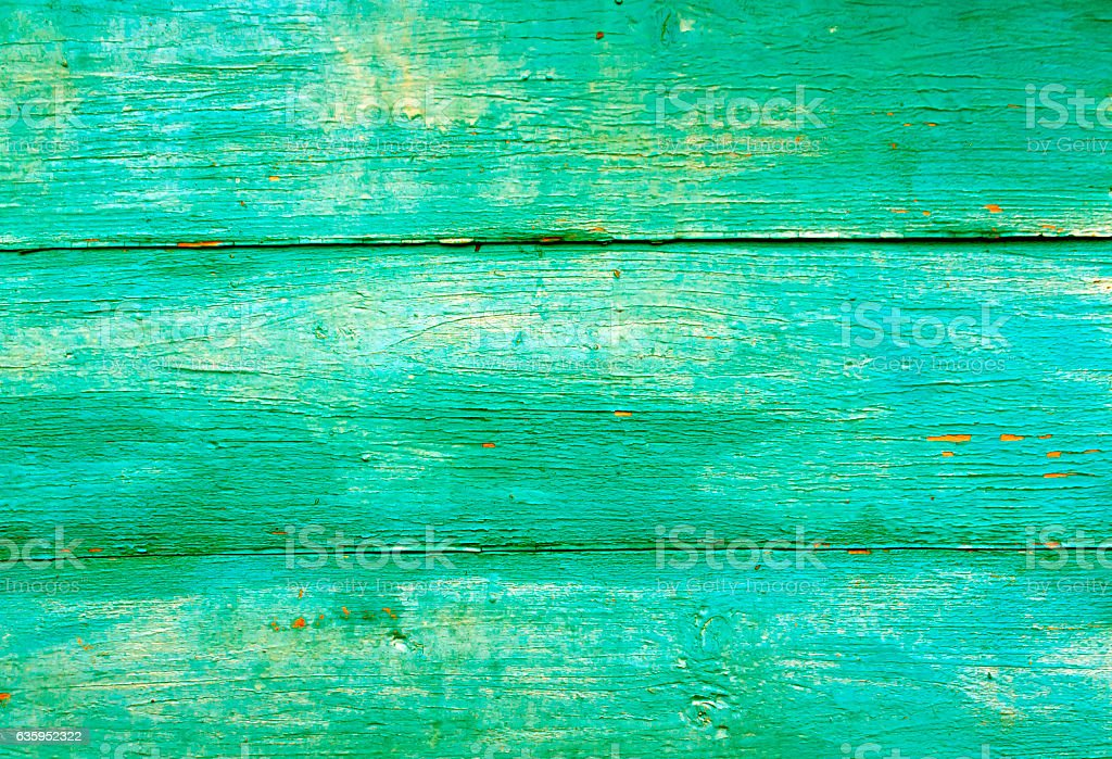 Green weathered wooden wall texture. stock photo