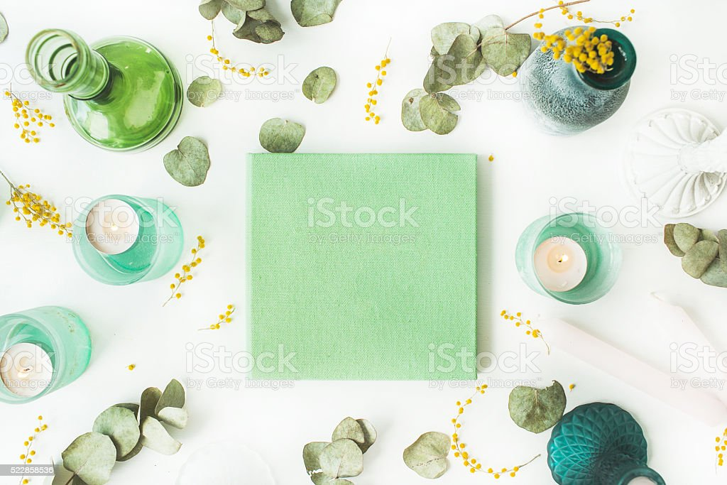 green wedding or family photo album stock photo