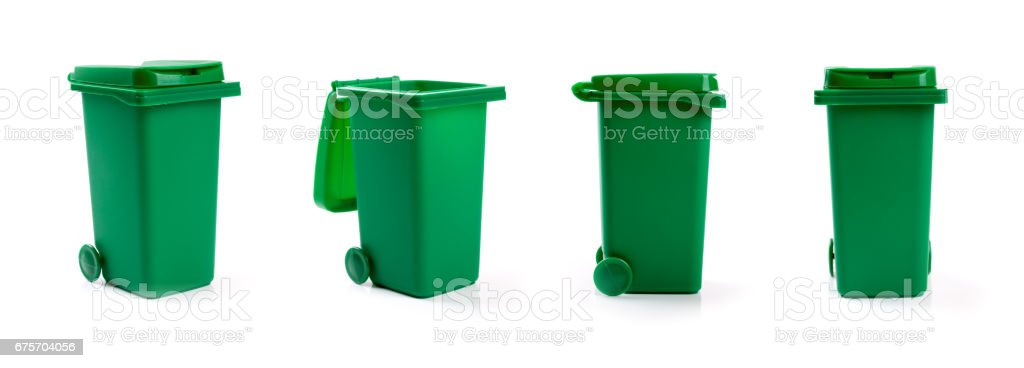 green wheelie waste bin isolated on white background stock photo