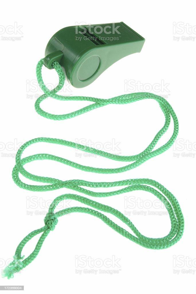 green whistle on white royalty-free stock photo