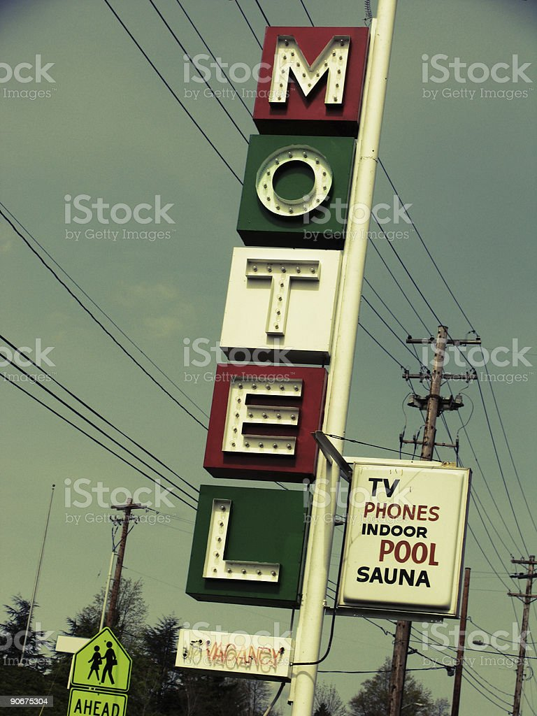 Green White and Red Motel Sing royalty-free stock photo