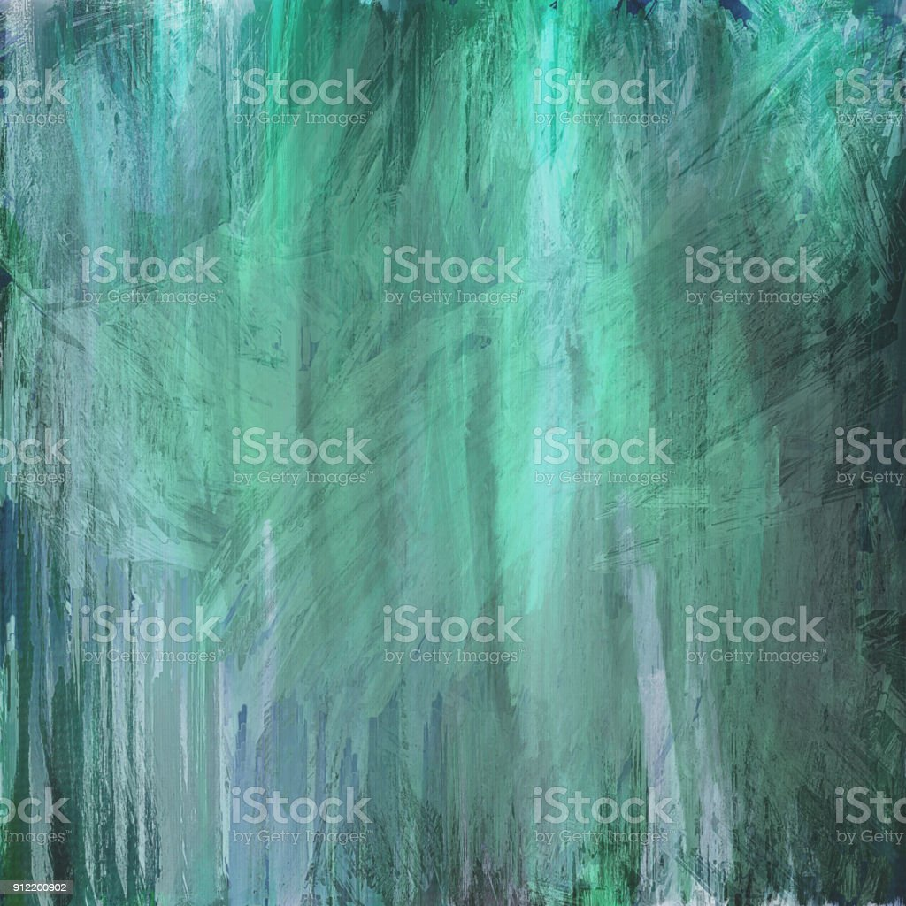 green white aqua grungy abstract painted background with vignette