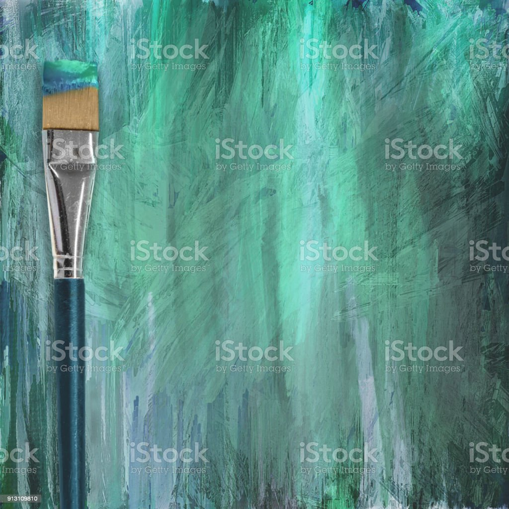 green white aqua grungy abstract painted background with paint brush stock photo