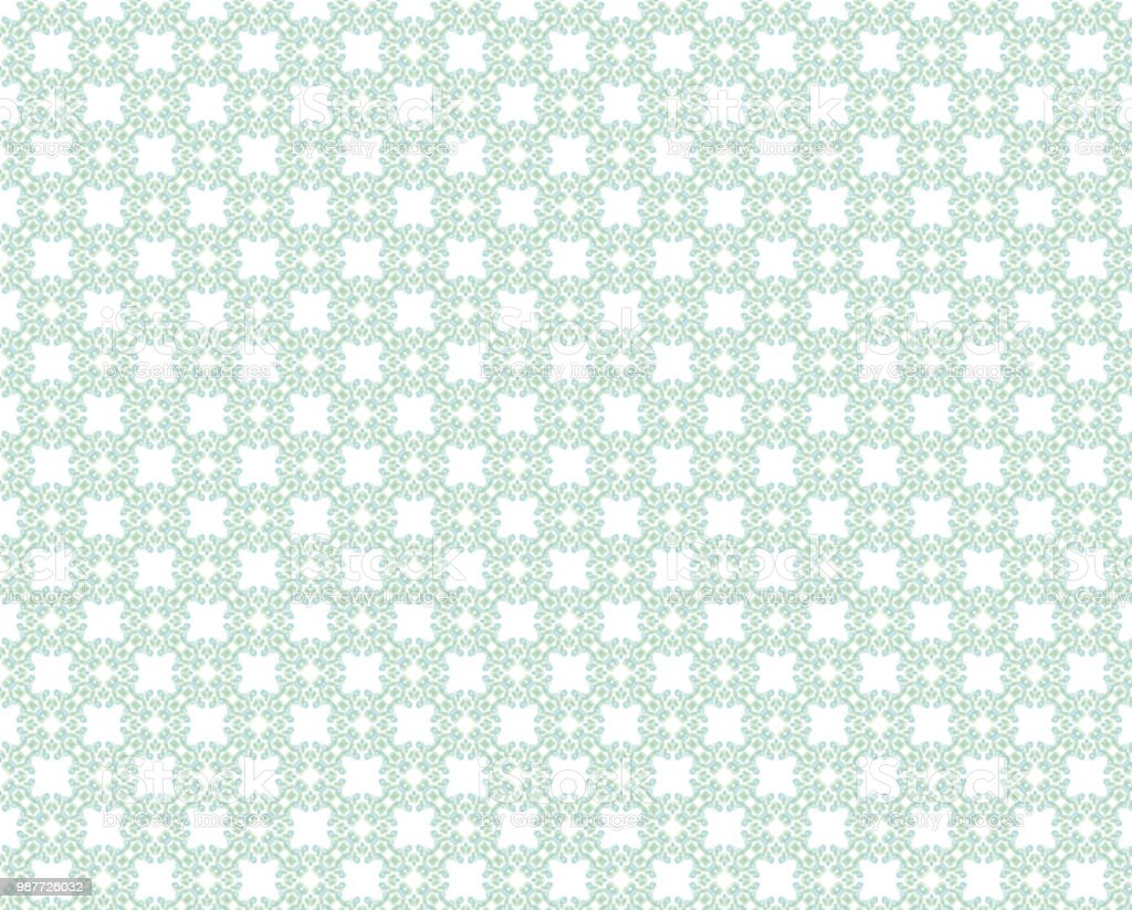 Green White Decorative Repeating Pattern Wallpaper Background Royalty Free Stock Photo