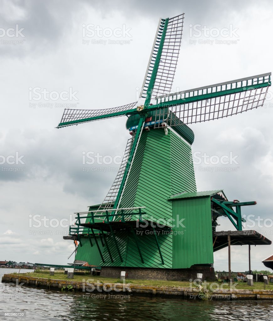 Green Windmill in Zaandam royalty-free stock photo