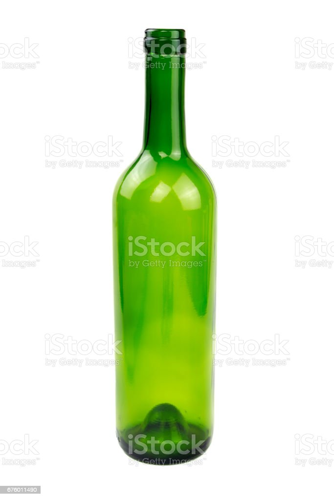 Green wine glass bottle isolated stock photo