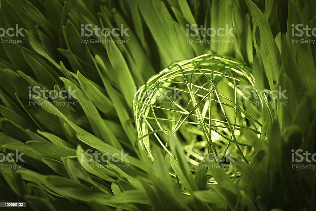 green wire orb in meadow stock photo