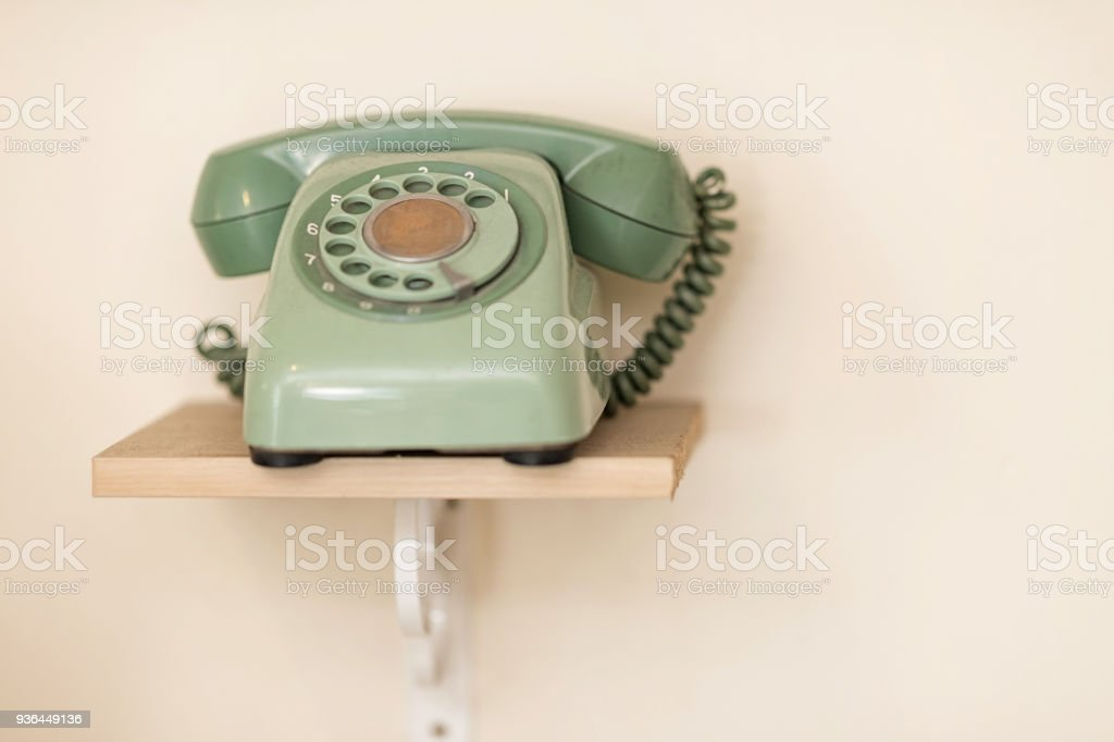 A green wired phone stock photo