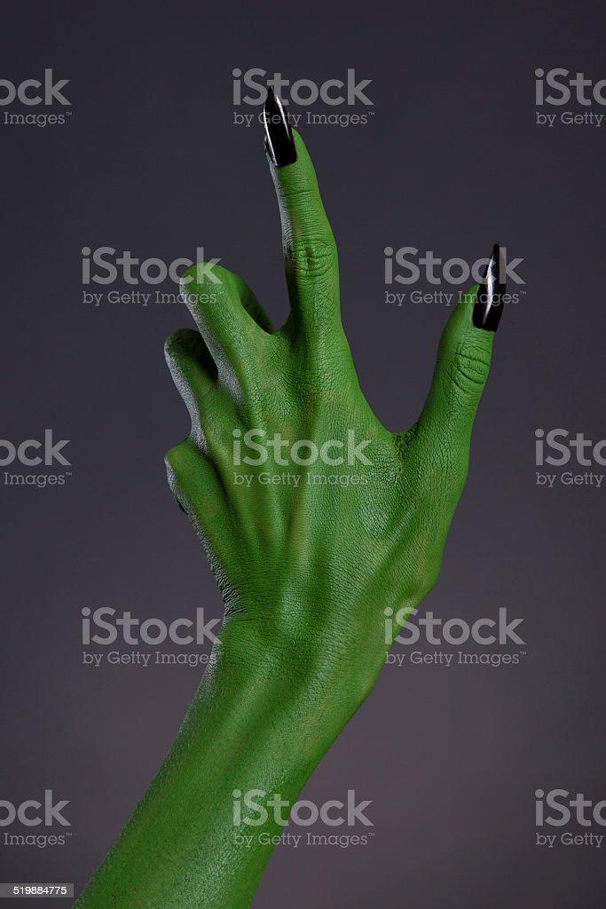 Fotografía de Green Bruja Manos Con Uñas Negro Cuerpo Real De Arte y ...