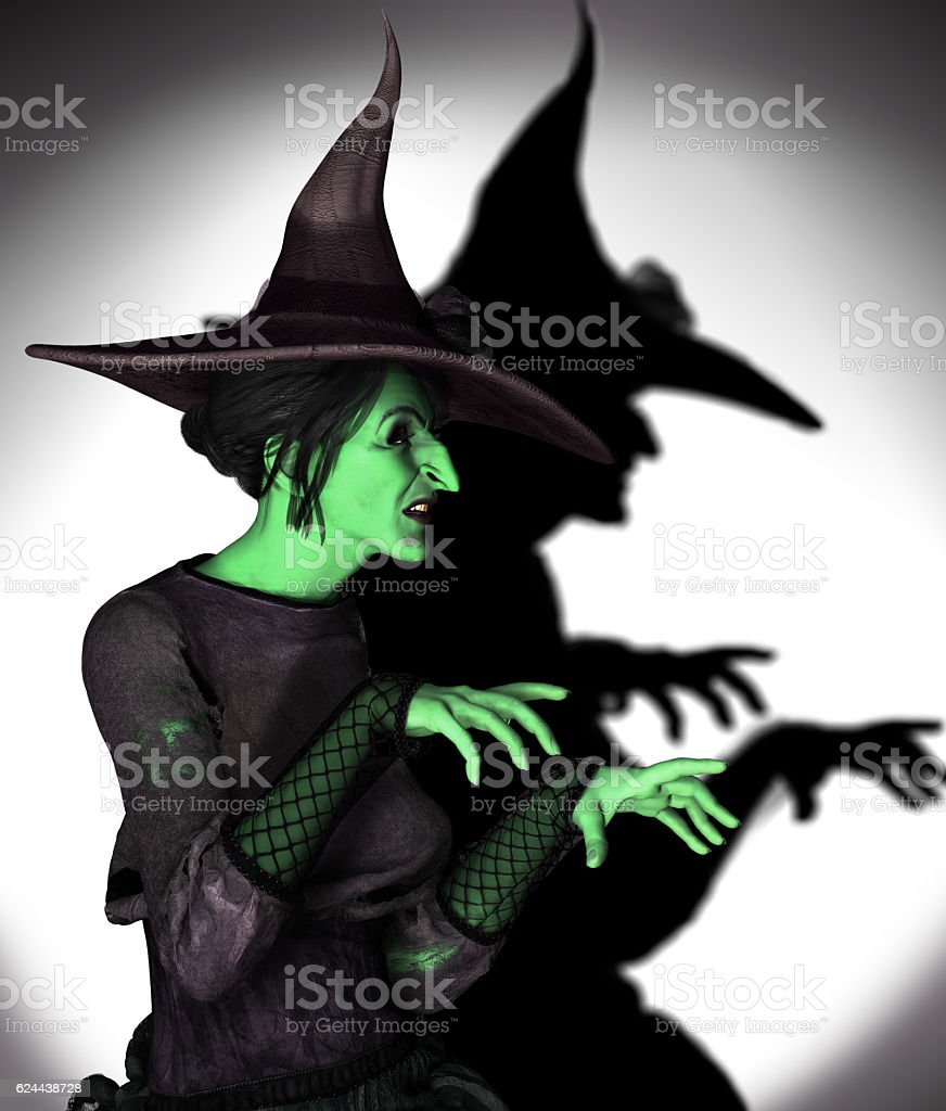 Green Witch Working Magic stock photo