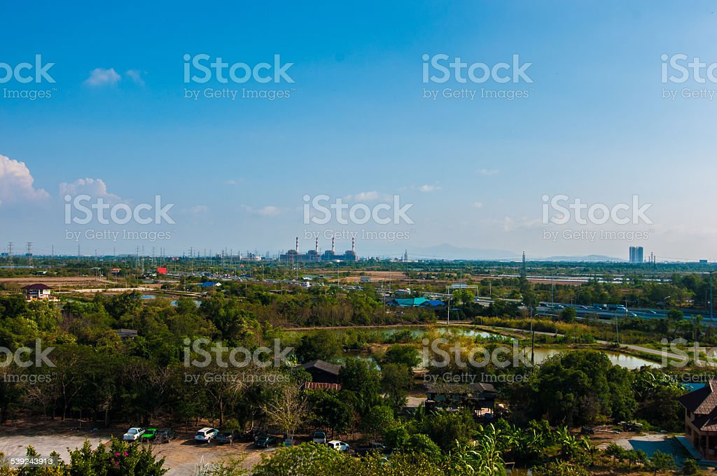 green with blue sky background. royalty-free stock photo