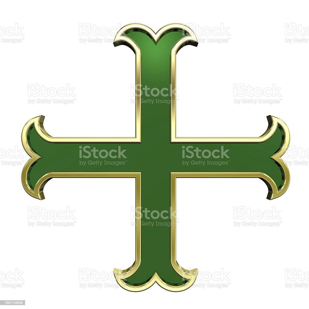 Green with gold frame heraldic cross isolated on white. royalty-free stock photo