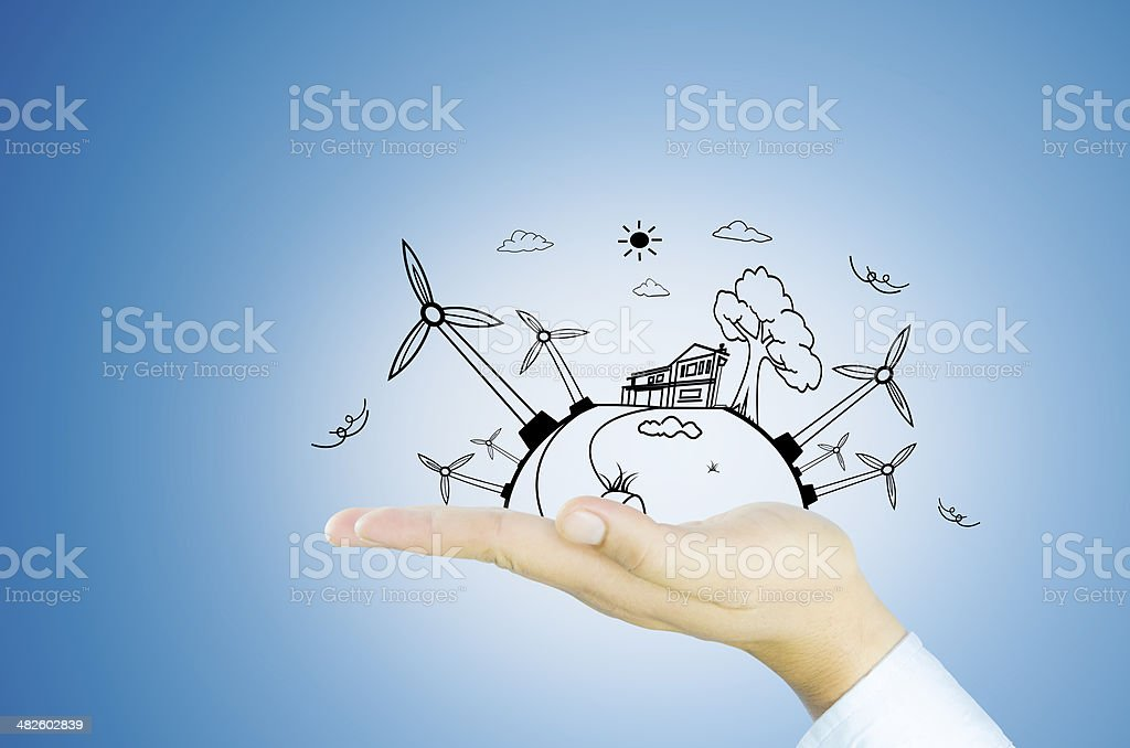 Green wolrd wind generator stock photo