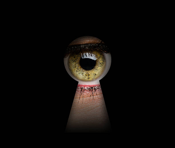 green woman eye and keyhole - big brother orwellian concept stock pictures, royalty-free photos & images