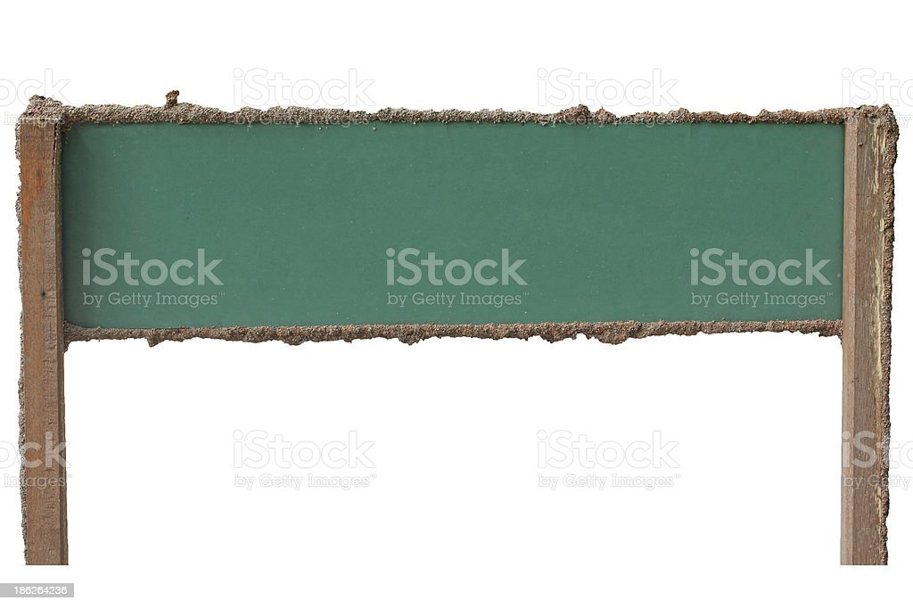 green wood frame of termite nest  an empty wooden sign stock photo