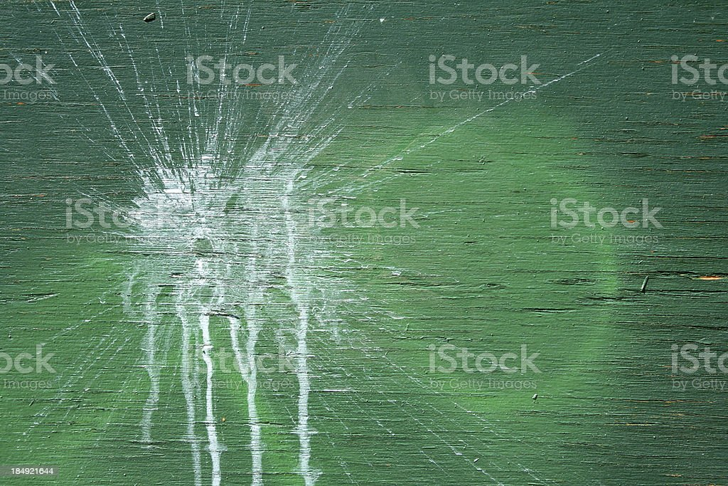 Green Wood With White Paint Splash Stain royalty-free stock photo