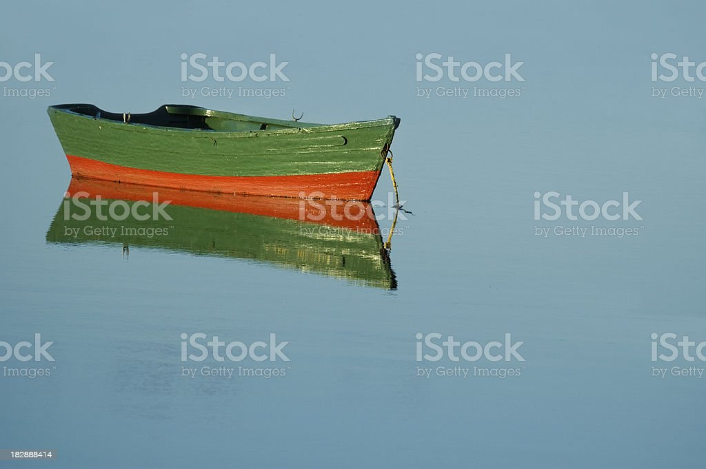 Green wooden rowboat royalty-free stock photo