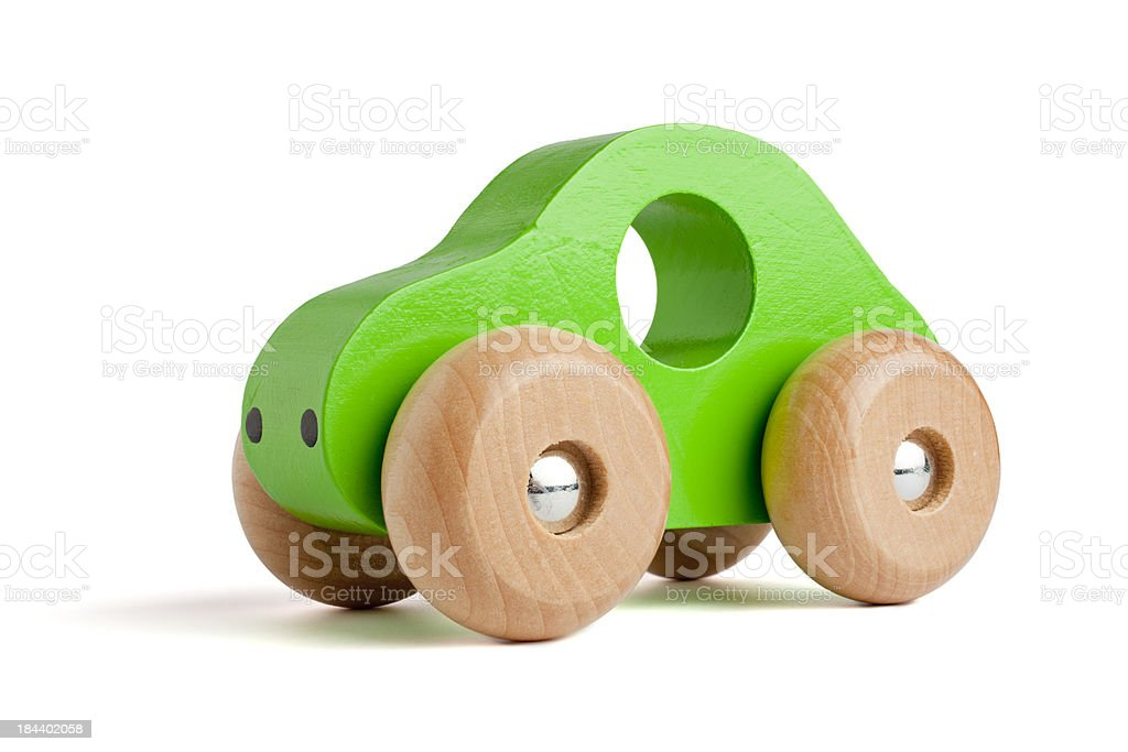 Green wooden toy car royalty-free stock photo